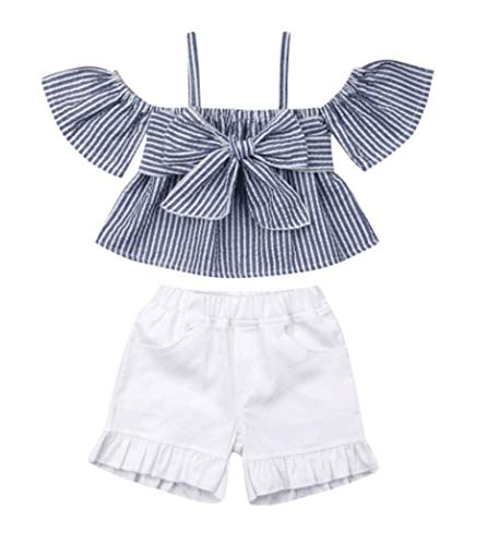 (Toddler Baby Girl Floral Halter Ruffled Outfits Set Strap Crop Tops+Short Pants 2 PCS Clothes Set (Blue Plaid, 3-4 Years))