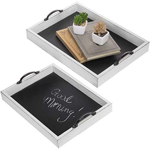 (MyGift Nesting Vintage Whitewash Wood Serving Trays with Chalkboard Surface, Set of 2)