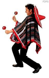 Disfraz Traje Vestimenta Poncho Mexicano a Rayas -S 106-111cm Pecho