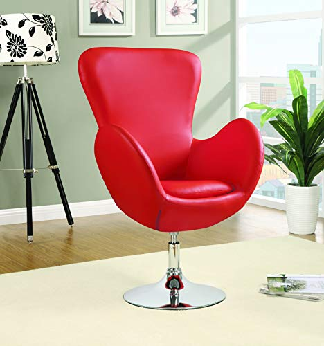 Coaster Home Furnishings Swivel Accent Chair Red and Chrome