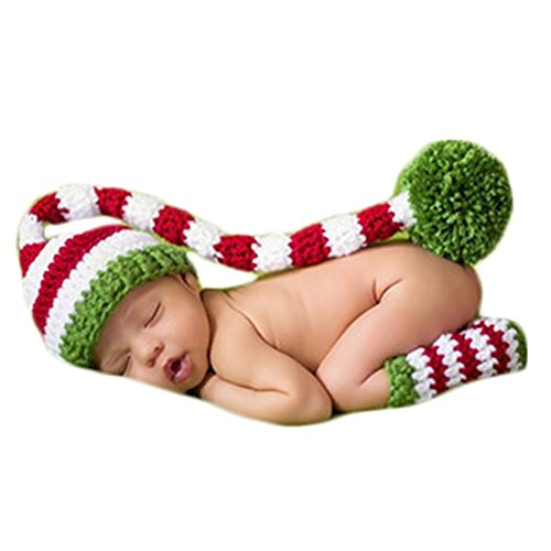 Baby Photography Props Photo Shoot Outfits Newborn Costume Infant Christmas Clothes Hat Leggings (Red)