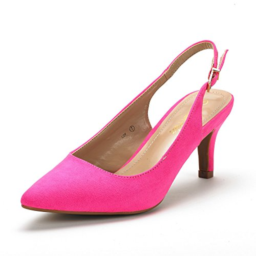 Dream Pairs Women's LOP Fuchsia Suede Low Heel Pump Shoes - 7 M US