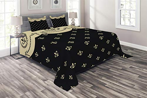 Fleur Pattern - Lunarable French Coverlet Set King Size, Pattern of Fleur de Lis Ancient Symbol Illustration Baroque Inspired Print, 3 Piece Decorative Quilted Bedspread Set with 2 Pillow Shams, Charcoal Grey Ivory