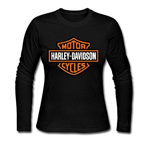 Women's Harley Davidson Motorcycle Logo 100% Cotton Long Sleeve T-shirt Black