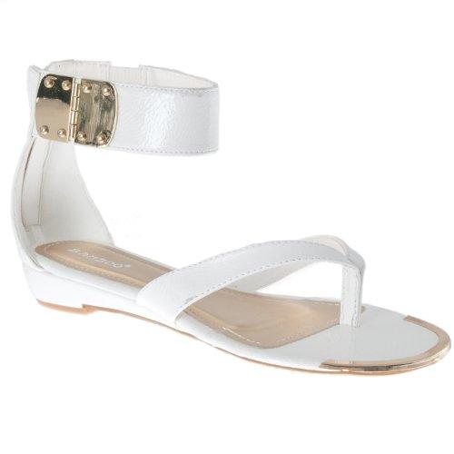 Sandali Con Cinturini Alla Caviglia In Bambù Bianco