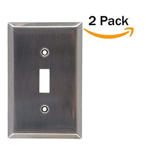 2 Pack Traditional Durable alloy Chrome Plated Steel Brushed Nickel Single Toggle Style Light Switch Wallplate, Mount,Wall Plates Kit, Home Electrical Cover, Replacement Faceplates (Chrome Plated Single)