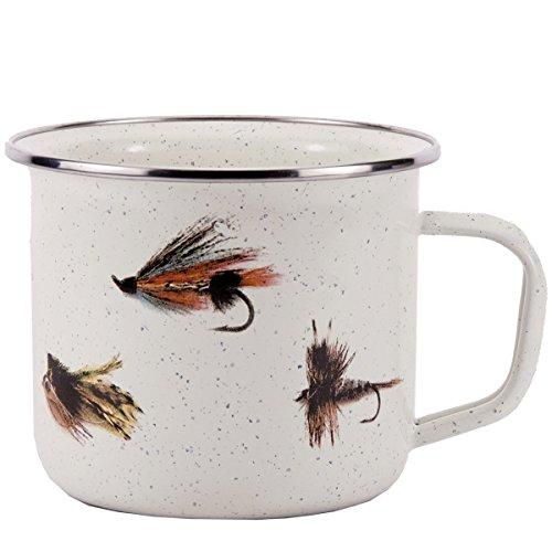 Enamelware - Fishing Fly Pattern - 24 Ounce Soup Mug