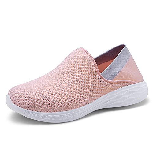 Qiusa Zapatos Suaves Mujeres Malla Transpirable Zapatillas de Deporte de Gran tamaño (Color : Rosado, tamaño : EU 41) Rosado