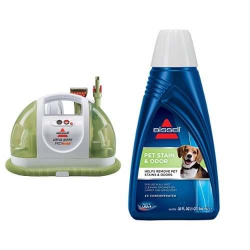 BISSELL Little Green ProHeat Compact Multi-Purpose Carpet Cleaner, 14259 - Corded and BISSELL 2X Pet Stain & Odor Portable Machine Formula, 32 ounces, 74R7 Bundle by Bissell