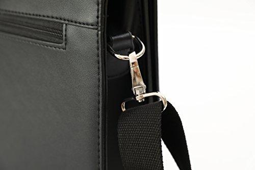 DEERLUX Men's Leather Laptop Briefcase, Black, One Size by DEERLUX (Image #5)