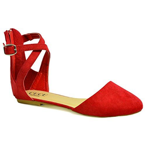 Pumput 8 Kengät Kesällä Punainen Tuomioistuin Mukava Uk Ballerina Cucu Nilkkalenkki Uuden Naisten 3 Vaatemerkki Nro Tyttöä Asuntoja Mokka Dolly Baletti Naisten O6Ug8wq