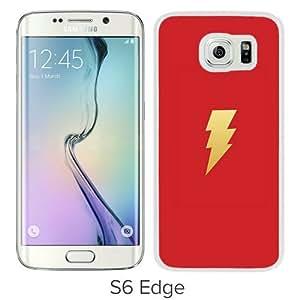 S6 Edge Cover Case,Thunder Bolt Minimal Logo Art White Personalized Cool Design Samsung Galaxy S6 Edge Case