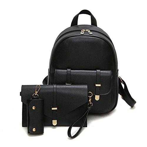 MIOIM à Rose 3 sac sac dos mode à pièces sac femmes à bandoulière main main sac Noir à pour à sac cuir en rétro dos gwg8Xrq