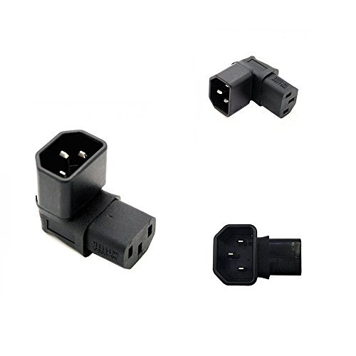 2 Pack Power Adapter IEC 320 C14 to C13,Golbalma Down 90 Angle PDU UPS Plug/Socket2 Pack 3 Pin Power Extension Adapter Receptacle for Wall Mount LCD LED TV ()