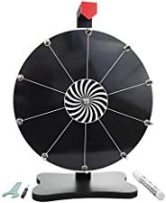 Whirl of Fun Prize Wheel 12 Inch Black-Tabletop with Stand, 10 Slots, Spinning Customize Erasable Whiteboard S