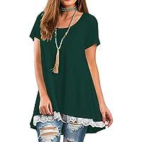 QIXING Women's Lace Long Sleee Short Sleeve Tunic Top Blouse