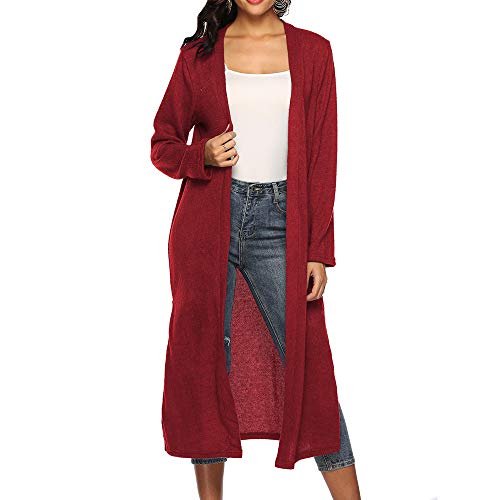 - Women Autumn Long Sleeve Open Cape Casual Coat Blouse Kimono Jacket Cardigan Red