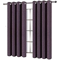 BEST DREAMCITY Window Treatment Thermal Insulated Solid Faux Linen Blackout Curtains Grommet Drapes for Living Room, Pack of 2 Panels, W52 by L63-inch, Purple
