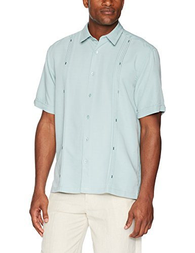 Panel Camp Shirt (Cubavera Men's Short Sleeve Cuban Camp Shirt with Contrast Insert Panels, Gray Mist with Variating Tuck Pattern, Small)