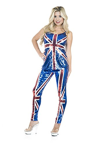 British Flag Costume (Charades Women's British Sequin Top and Pants, Blue/red,)