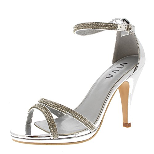 Viva Womens Diamante Mid Heel Ankle Strap Wedding Party Metallic Sandals Shoes Silver ngzRa9