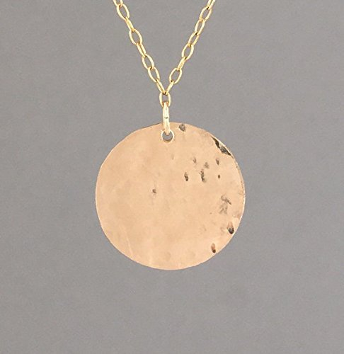 3/4 Inch Circle Charm Necklace - 3/4 INCH Gold Fill Hammered Disc Circle Necklace also in Rose Gold Fill & Sterling Silver