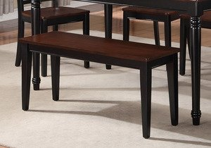 Poundex PDEX-F1344 Contemporary Two Tone Finish Dining Room Bench, Cherry Black