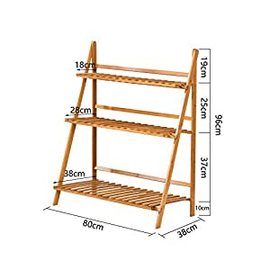 Foldable Multi-layer Anti-slip Bamboo Flower Pots Frame Outdoor Aisle Storage Shelves Balcony Bedroom Shelves Green Plant Frame Removable Storage Shelf ( Design : 4 )
