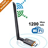 USB WiFi Adapter 1200Mbps, Areson Wireless Adapter for PC/Desktop/Laptop USB 3.0 Dual Band 2.4GHz/5GHz with 5dBi Antenna, Support Windows 10/8.1/8/7/XP, Linux, Mac OS 10.6-10.14