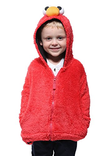 Sesame Street Toddler Boys' Fuzzy Costume Hoodie (Multiple Characters), Elmo Red, 2T ()