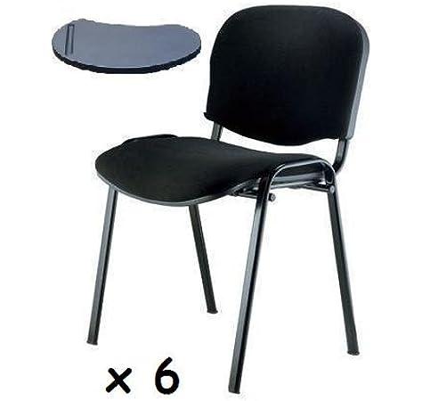 6x - Silla confidente para oficina con brazo pala apilable para escritura: Amazon.es: Oficina y papelería