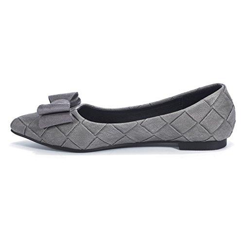 D'honneur De À Femmes mode Florata Carreaux Plate Semelle Chaussures Bow Chaussures Travail Gris Tissu De Tie Chaussures Demoiselle qaUa7Av