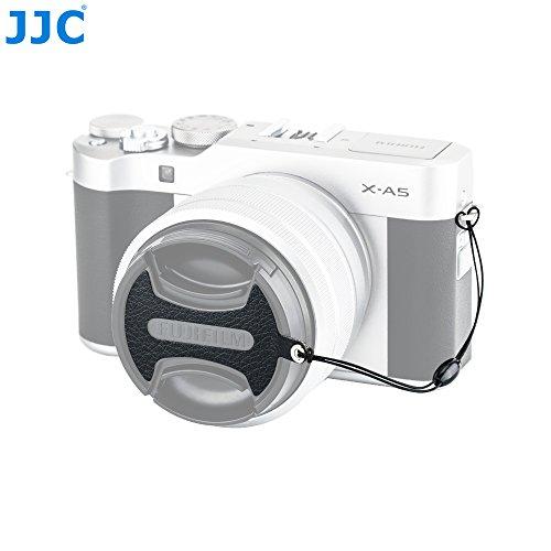 JJC Nappa Leather Anti-Lost Lens Cap Keeper Sticker for Fujifilm FLCP-52II (Flat Type) 52mm Front Lens Cap on Fuji Fujinon XC 15-45mm F3.5-5.6 OIS PZ/X-T100 X-A5 X-T20 X-T10 X-T2 X-T1 X-E3 X-A10