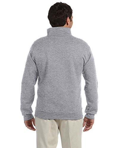 JERZEES Mens SUPER SWEATS 1/4-Zip Sweatshirt with Cadet Collar, 2XL, Oxford - Cadet Collar Oxford