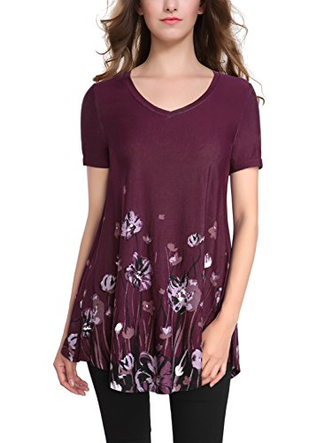 BAISHENGGT Women's V-neck Short Sleeve Flared Printed Tunic Top Large Purple Floral Printed Tunic Top