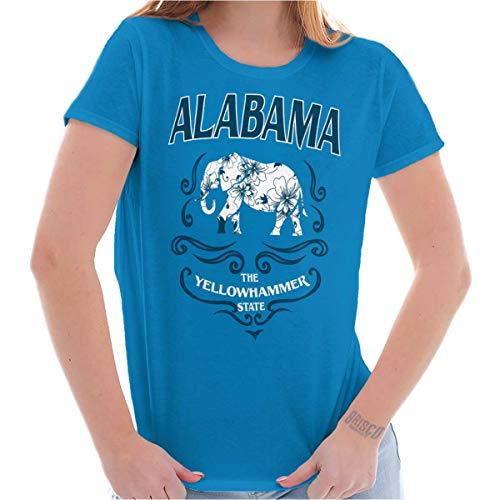 Brisco Brands Alabama Yellowhammer AL Feminine Elephant Ladies T Shirt Sapphire