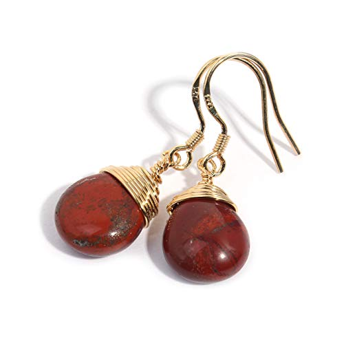Scutum Craft Natural Stone Dangle Drop Earrings with 14K Yellow Gold Plated Wire Wrap and 925 Sterling Silver Hook Jewelry for Women, Gift for Best Friend (Poppy Jasper Water Drop)