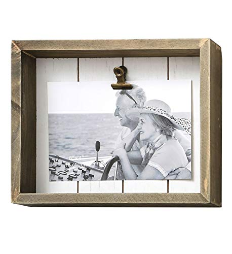 Fashioncraft Wooden 6 x 4 Shadow Bow Frame with Clip - Distressed and Brushes Finish - 8 x 6.5 inch - Novelty Wall Decor and Art from Fashioncraft
