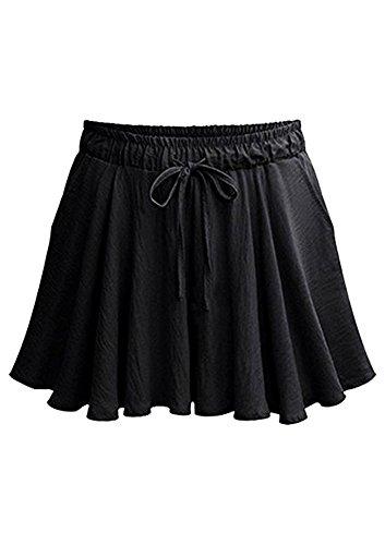 FunkyAmy Womens Summer Elastic Waist Flare Hem Wide Leg Cotton Pleated Skorts