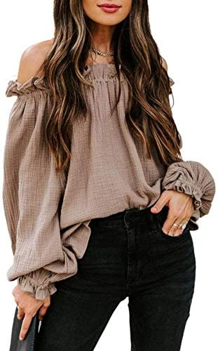BLENCOT Women's Casual Off The Shoulder Tops Batwing Sleeve Ruffle Flowy Loose Blouses Shirts