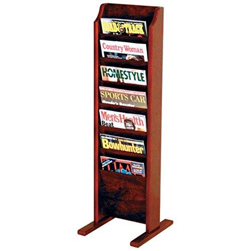 Wooden Mallet 7-Pocket Cascade Free-Standing Magazine Rack, Mahogany