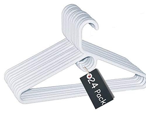 Heavy Duty Plastic Hangers - 1InTheHome Heavy Duty White Hangers Tubular Plastic Hangers, Set of 24 (Heavy Duty)