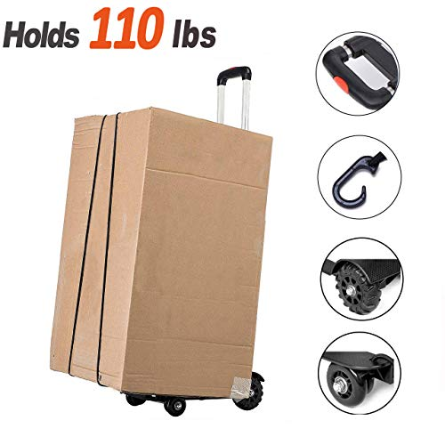 Hand Truck, Sanoto Folding Aluminum Hand Cart Moving Dolly with 4 Wheels for Luggage, Moving Boxes, Home and Office Use
