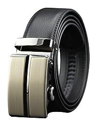 Mens Automatic Buckle Genuine Leather Waist Strap Black Belts (115CM, black)