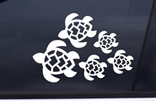 Window Decals Turtle (Turtle Family Decal, Turtles Swimming Decal | Car, Truck, Wall, Laptop, Phone...| 7 X 4.8 In | KCD221)