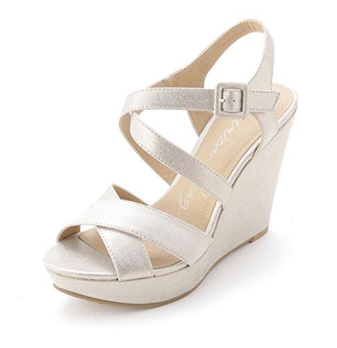 American Rag - Sandalias de vestir para mujer Oro Metálico
