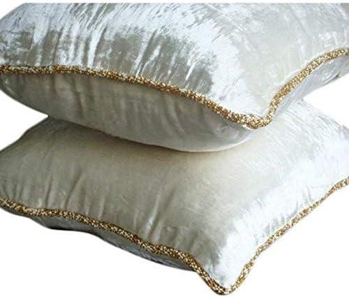 The HomeCentric Luxury White European Pillow Covers 26×26 inch 65×65 cm , Velvet Euro Shams, Solid Color, Contemporary European Sham Covers – White Shimmer