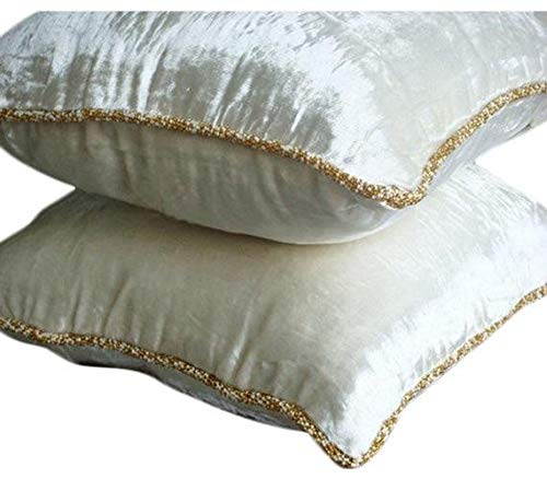 Luxury White Pillow Cover, Solid Color Beaded Cord Pillow Cover, 16