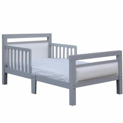 Orbelle Trading Modern Padded Toddler Bed, Grey/White by Orbelle