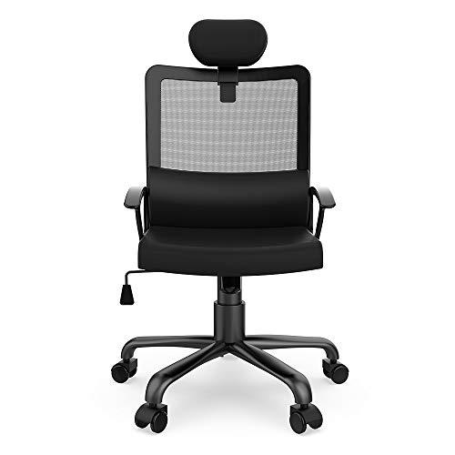 Smugdesk Ergonomic Office Chair Adjustable Headrest Mesh Office Chair Office Desk Chair Computer Task Chair (Black) - 2579 Photo #2